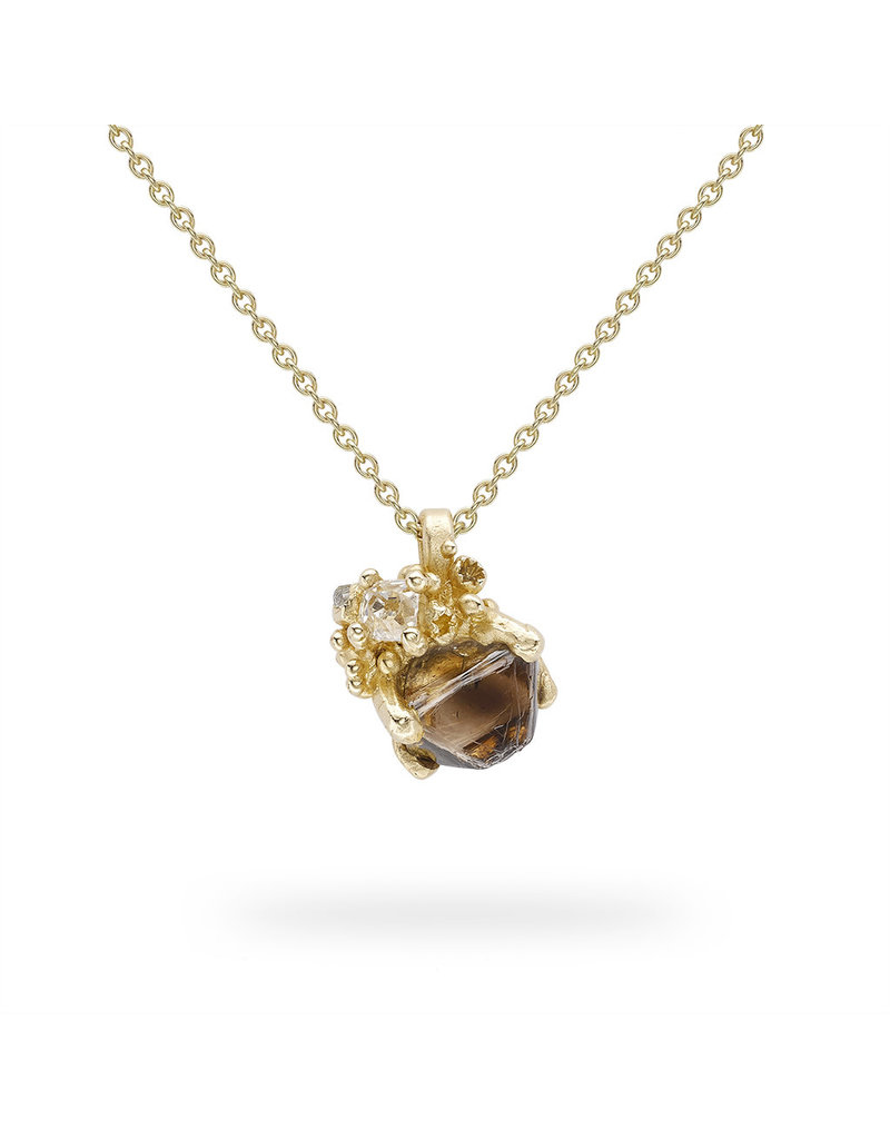Raw Diamond Pendant with Barnacles in 14k Yellow Gold