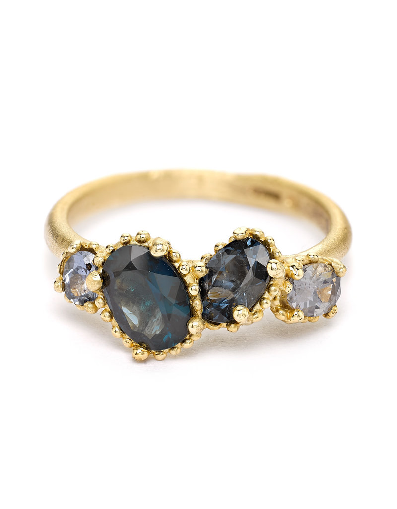 Mixed Spinel Ring with Beaded Setting in 14k Yellow Gold