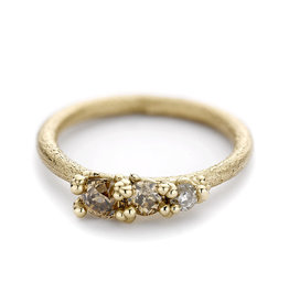 Three Stone Diamond Band with Granules in 14k Yellow Gold
