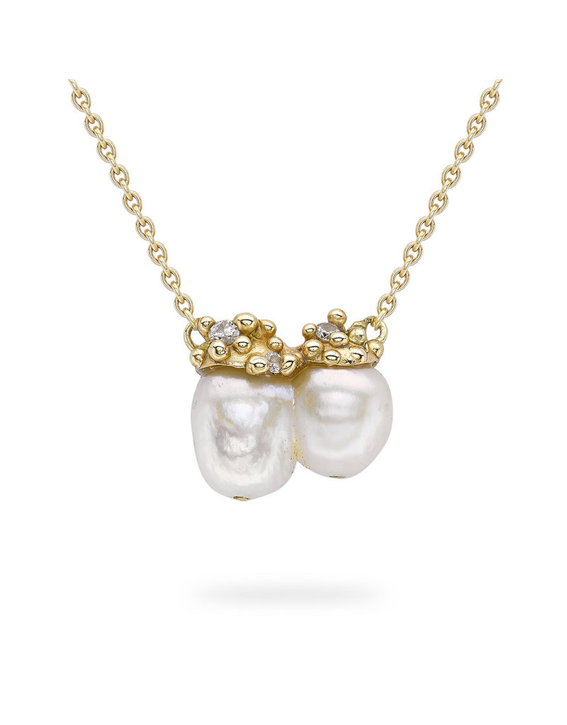 Double Pearl Encrusted Pendant in 14k Yellow Gold