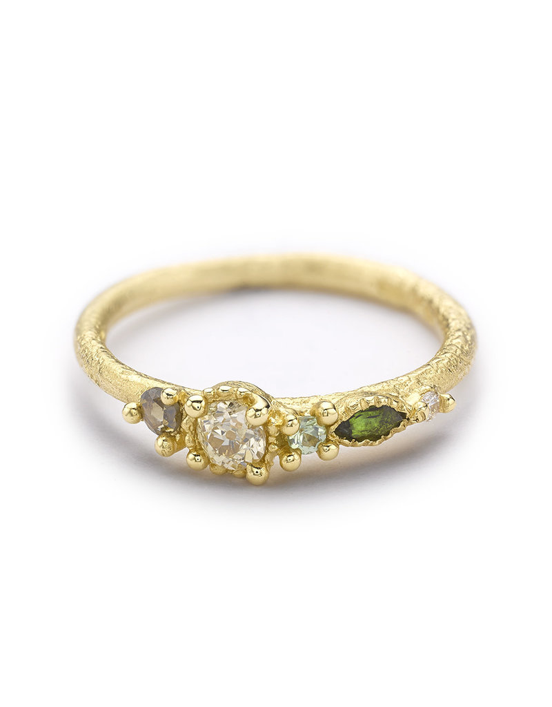 Mixed Stone Ring with Champagne Diamond in 14k Yellow Gold