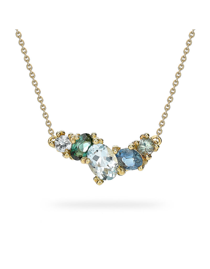 Aquamarine and Sapphire Cluster Bar Necklace in 14k Yellow Gold