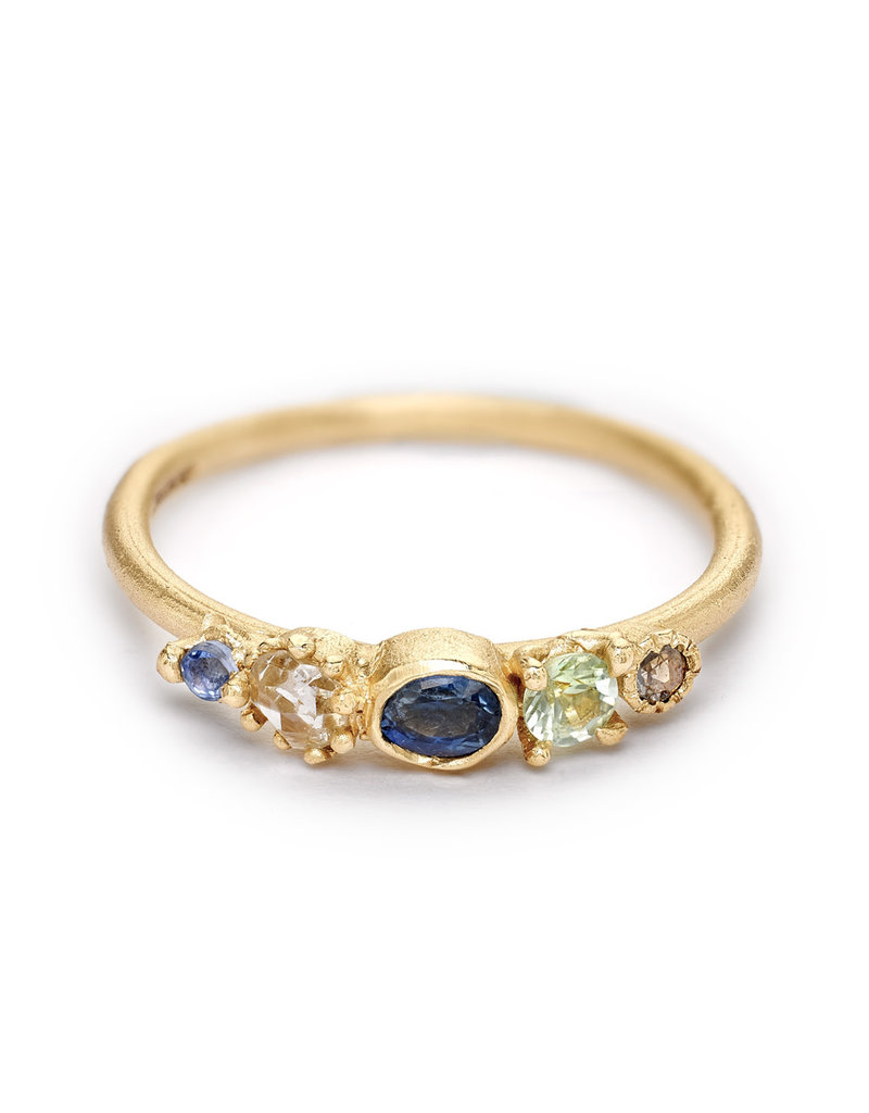 Mixed Sapphire and Diamond Ring in 14k Yellow Gold