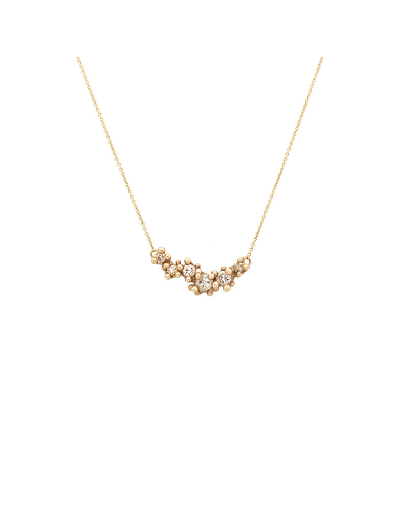 Champagne Diamond and Granule Cluster Bar Necklace