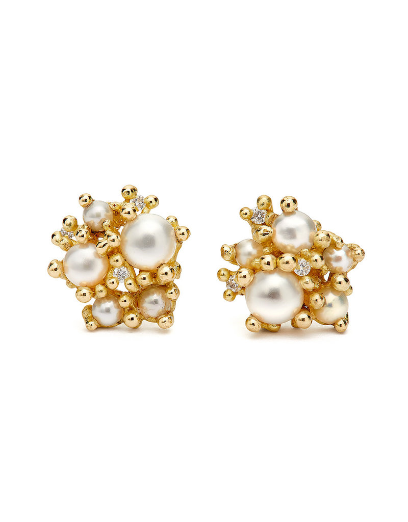 Pearl and Diamond Cluster Post Earrings in 18k Yellow Gold
