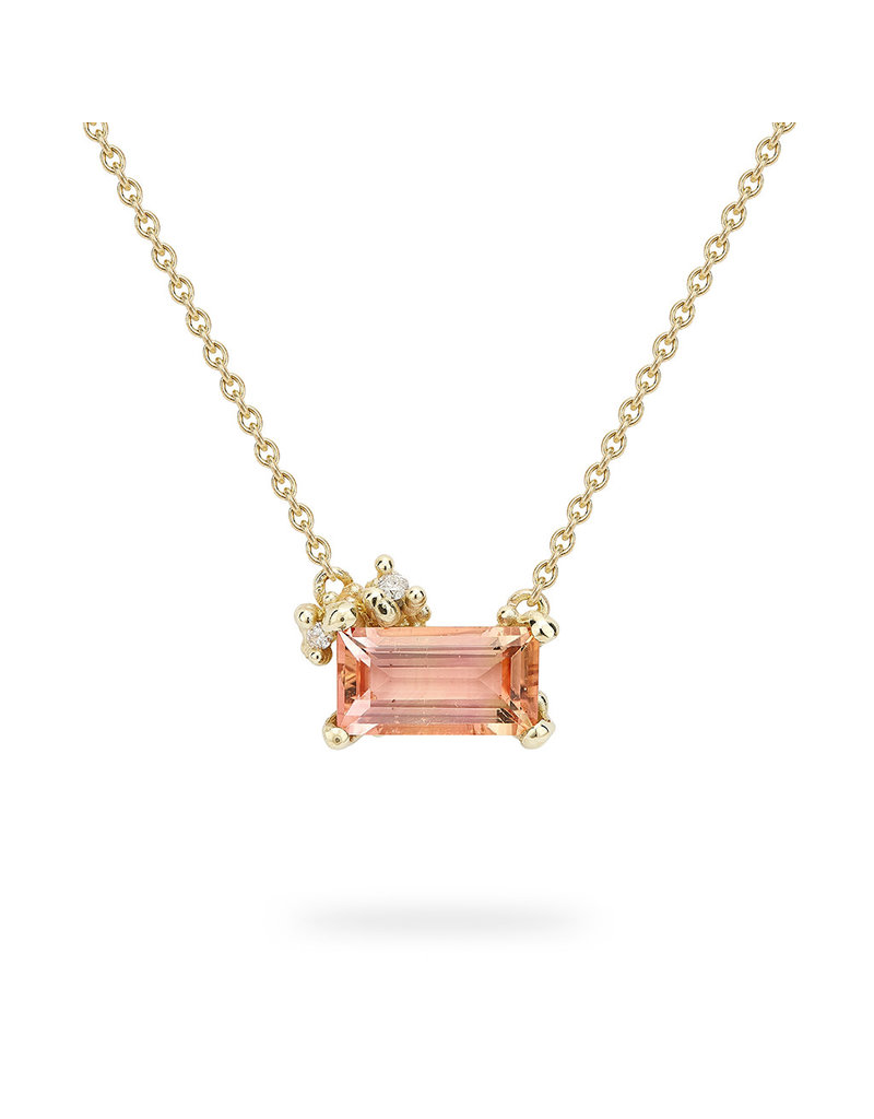 Encrusted Pink Tourmaline Necklace in 14k Yellow Gold