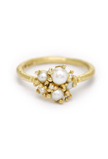 Pearl and Diamond Cluster Ring in 18k Yellow Gold