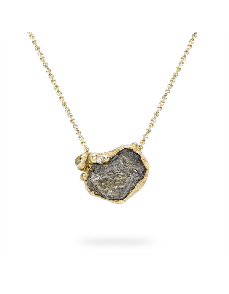 Raw Grey Diamond Pendant in 14k Yellow Gold