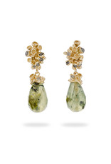Prehnite Drop Earrings with Grey Diamonds and Barnacles in 14k Yellow Gold