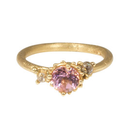 Pink Tourmaline Ring with Beaded Setting in 18k Yellow Gold