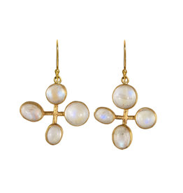 Margery Hirschey Four Moonstone  Earrings in 18k Gold