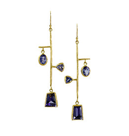 Margery Hirschey Tanzanite Mobile Earrings in 18k and 22k Gold