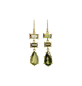 Margery Hirschey Green Tourmaline and Andualucite Earrings in 22k Gold