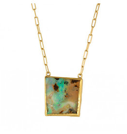 Margery Hirschey Organic Square Opal Necklace in 18k Gold and Handmade Chain