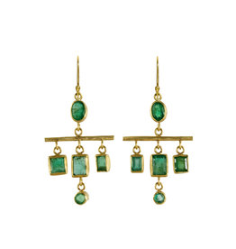 Margery Hirschey Emerald Mobile Earrings in 18k and 22k Gold
