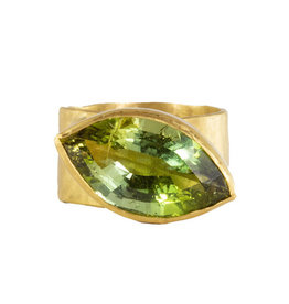 Margery Hirschey Green Eye Tourmaline  Ring in 18k and 22k Gold