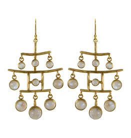 Margery Hirschey Moonstone Pagoda Earrings in 18k and 22k Gold
