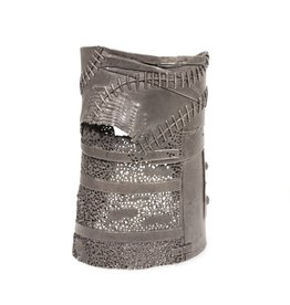 Wide Cuff Bracelet with Black Diamond in Oxidized Silver