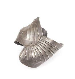 Pleated Cuff Bracelet with Black Diamond in Oxidized Silver