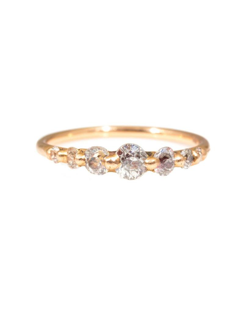 Halo Ring with Seven Graduated Miner's Cut Round Diamonds in 18k Rose Gold