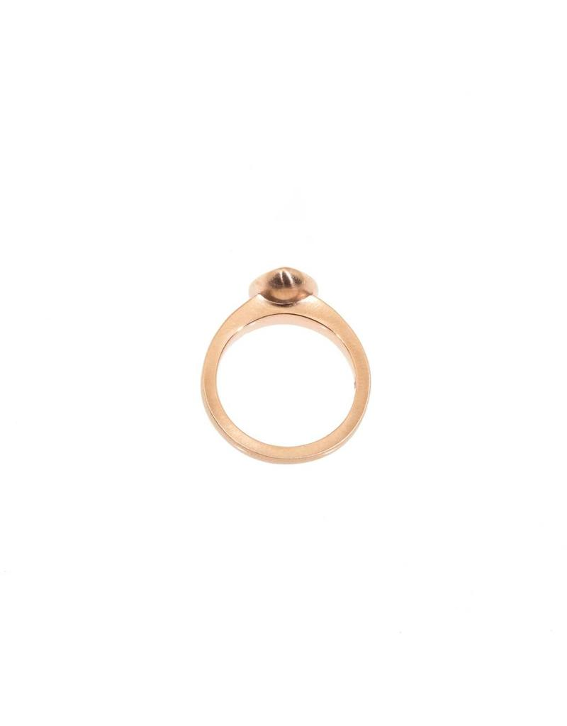 Teardrop White Rose Cut Diamond Ring in 14k Rose Gold