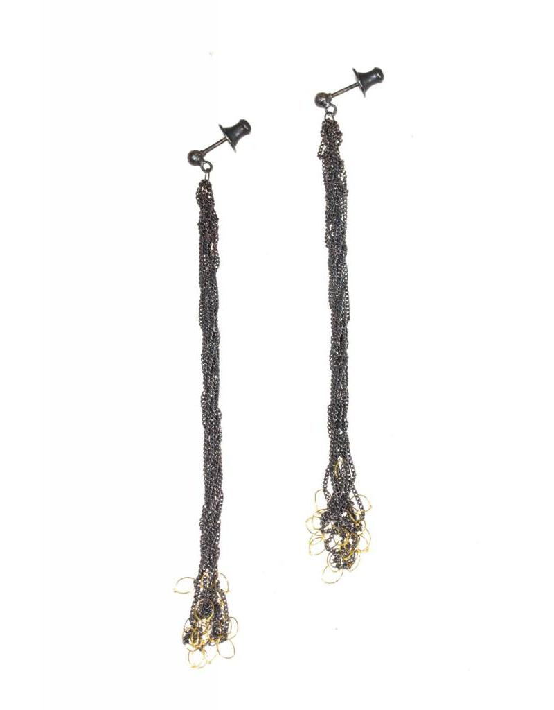 Chain Knot Earrings in Oxidized Silver with 18k Yellow Gold Accent