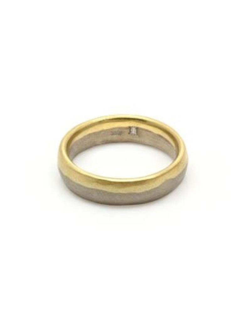 5.75mm Dipped Modeled Band in 18k Palladium White and Yellow Gold