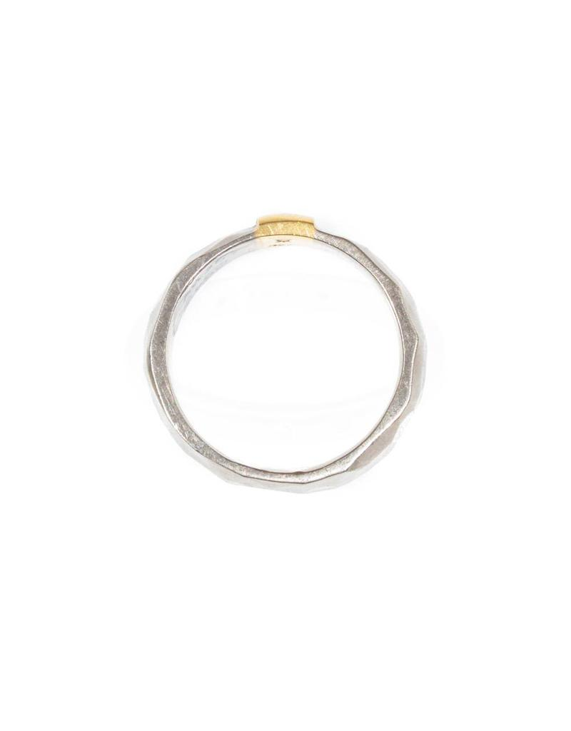 7mm Textured Band in 18k Palladium White Gold and 18k Yellow Gold