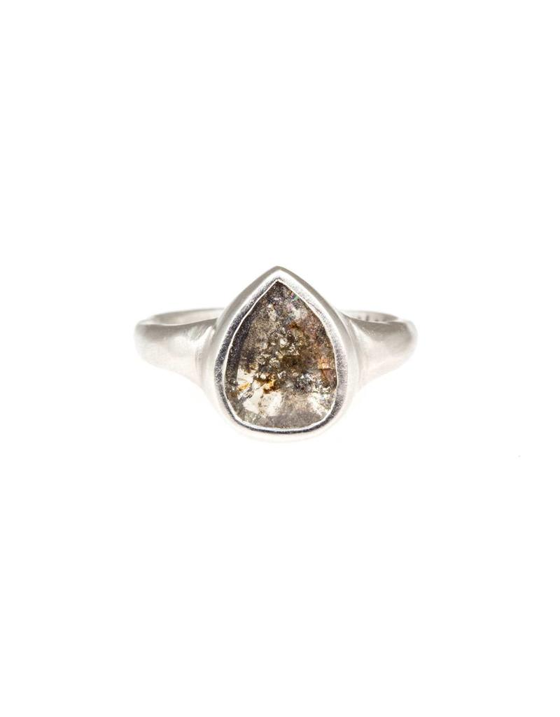Teardrop Dark Grey Rose Cut Diamond in Platinum