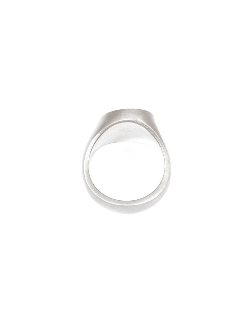 Pave Diamond Organic Shaped Signet Ring with Diamonds in 18k Palladium White Gold