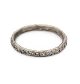 White Diamond Eternity Band in 18k Warm White Gold