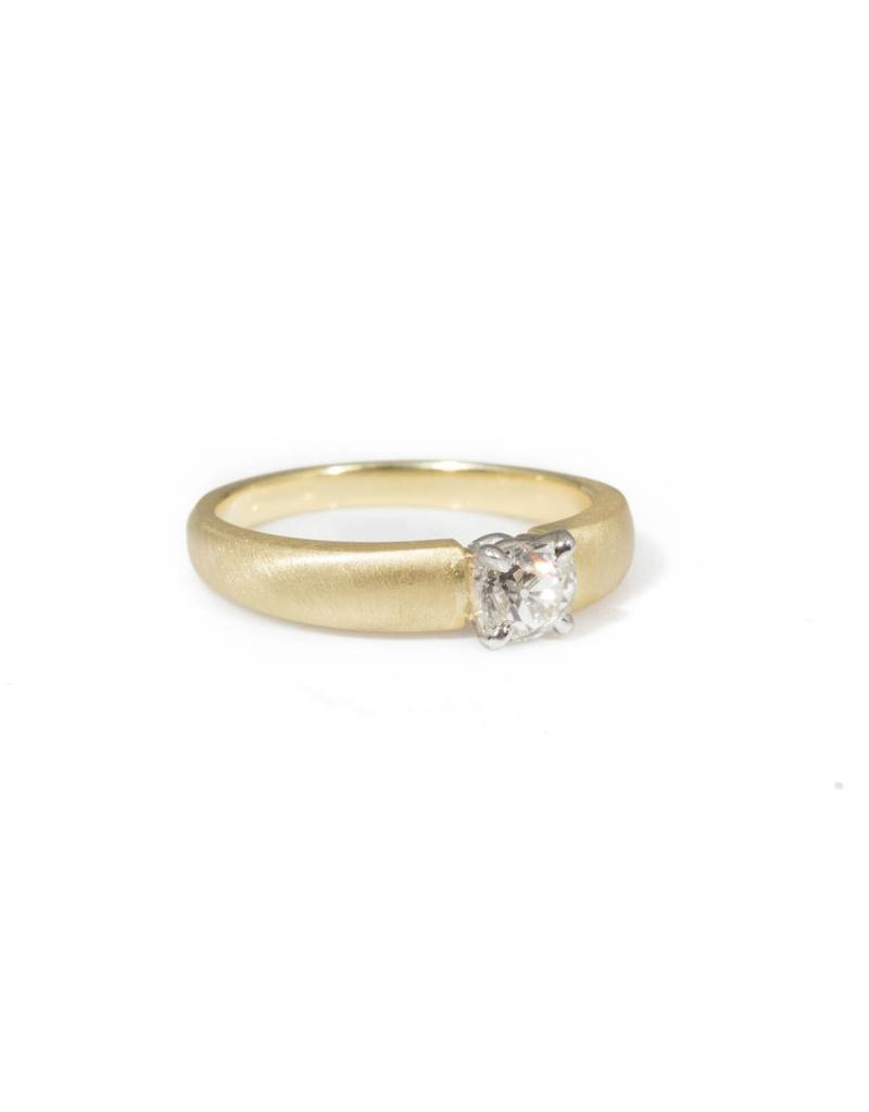 Prong Set Diamond Ring with Antique Diamond in Platinum Setting and 18k Yellow Gold Band