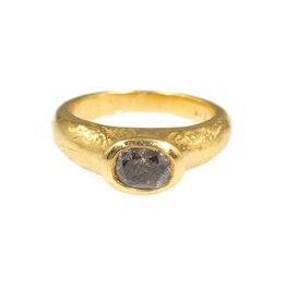 Band Ring with Light Ancient Texture Whiskey Diamond in 22k Gold