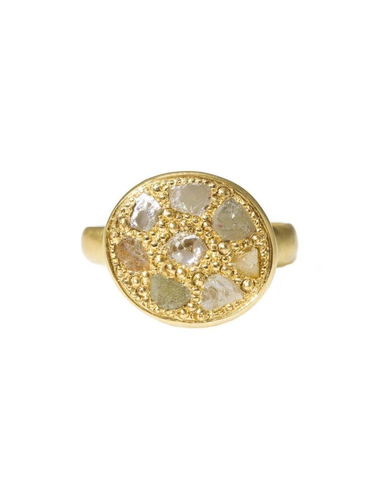Pave Ring Signet Ring with Diamond Crystals in 18k Yellow Gold