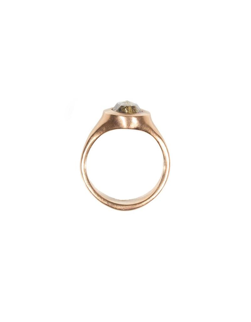 Oval Cognac Diamond Set in 18k Rose Gold