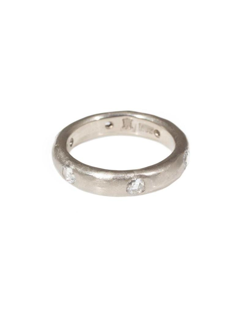 4mm Half Round  Modeled Band with Rose Cut Diamonds in 18k Palladium White Gold
