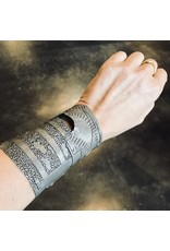 Wide Cuff Bracelet with Black Diamond in Oxidized Silver