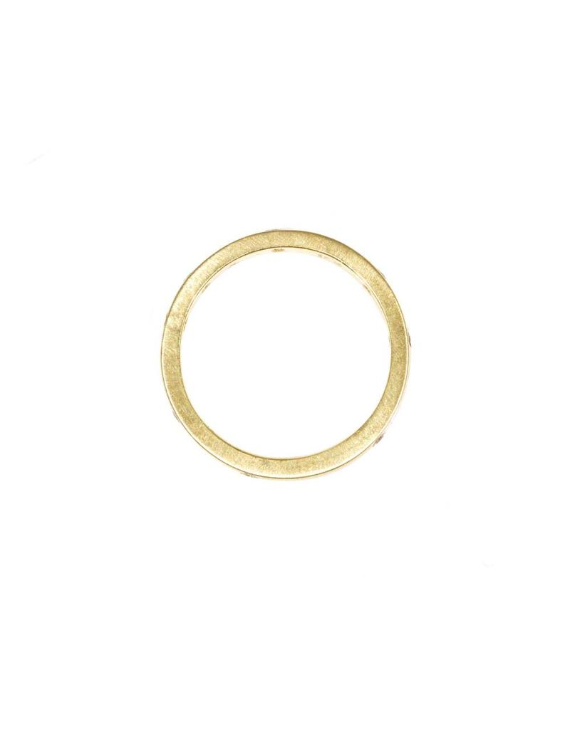 Simple Architectural Gold Band with White Diamonds in 18k Yellow Gold
