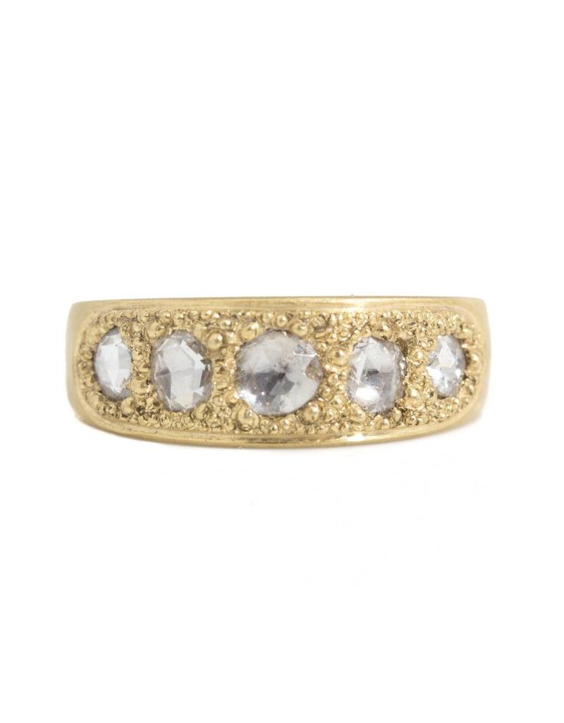 Pave Band Ring with Five Organic Rose Cut Diamonds in 18k Yellow Gold
