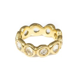 Eternity Band with Yellow Rose Cut Organic Sapphires in 18k Yellow Gold