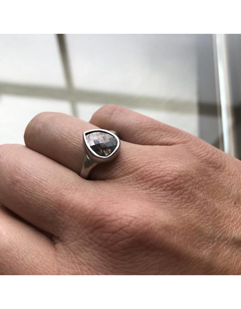 Teardrop with Dark Grey Rose Cut Diamond in Platinum
