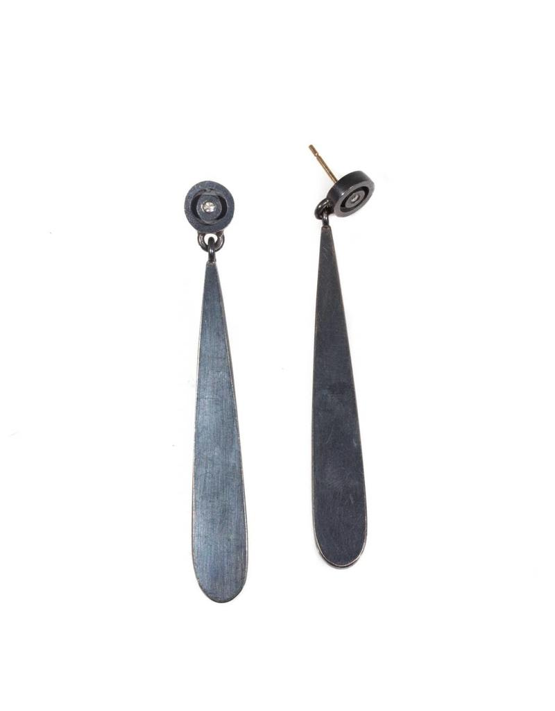 Circle & Teardrop Post Earrings with Diamonds in Oxidized Silver