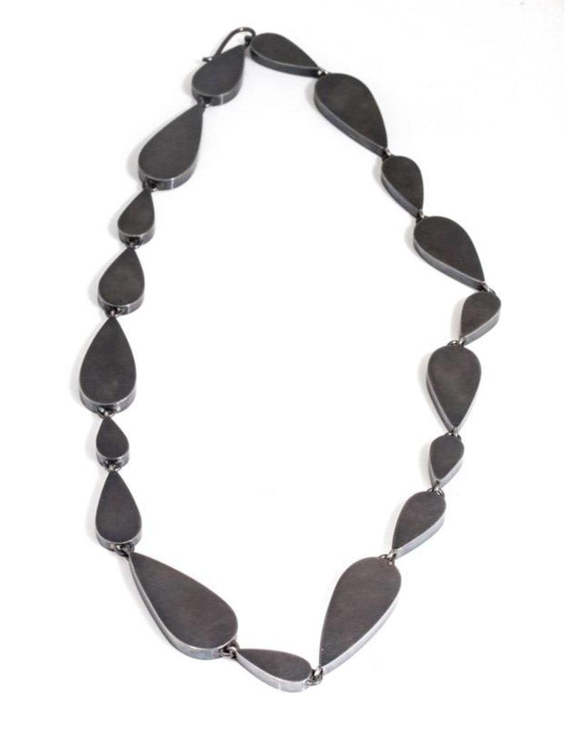 Hollow Teardrop Necklace in Oxidized Silver
