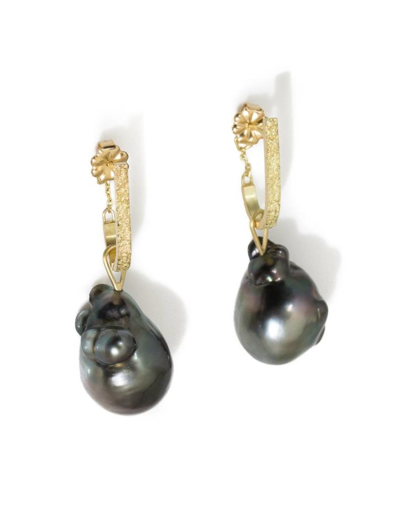 Tahitian Pearl Drop Earrings in 18k Yellow Gold