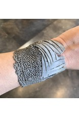 Cuff Bracelet with Grey Diamonds in Oxidized Silver