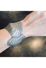 Pleated Cuff Bracelet with Black Diamond in Oxidized Silver