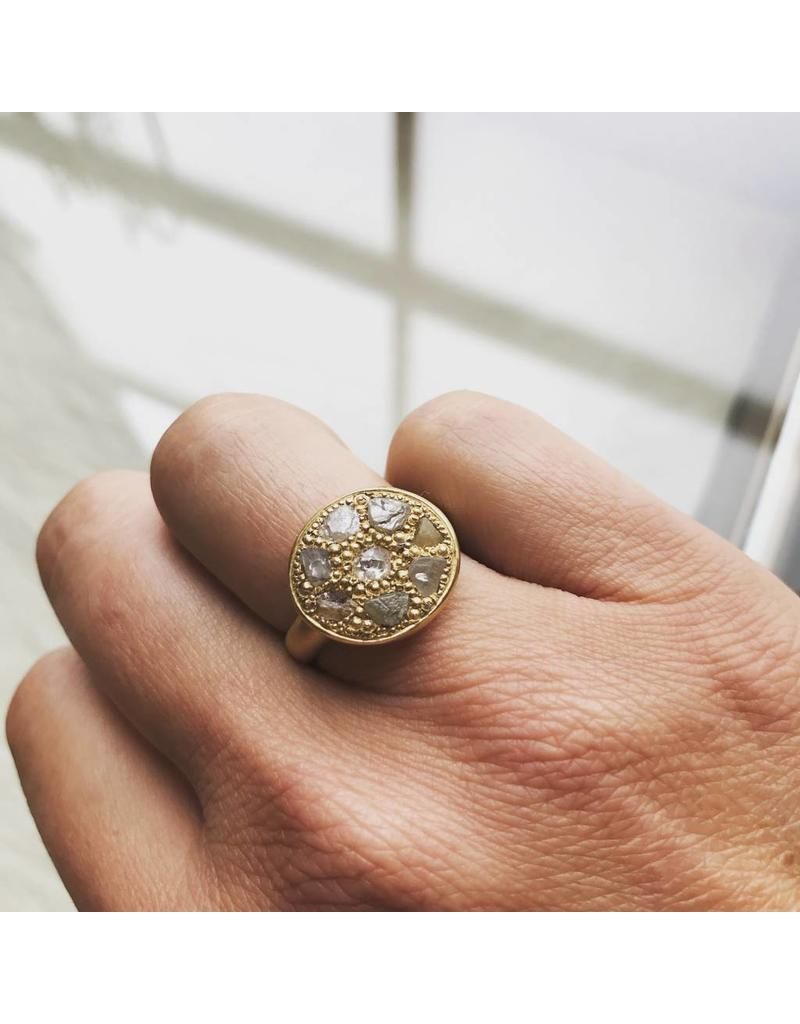 Pave Signet Ring with Diamond Crystals in 18k Yellow Gold