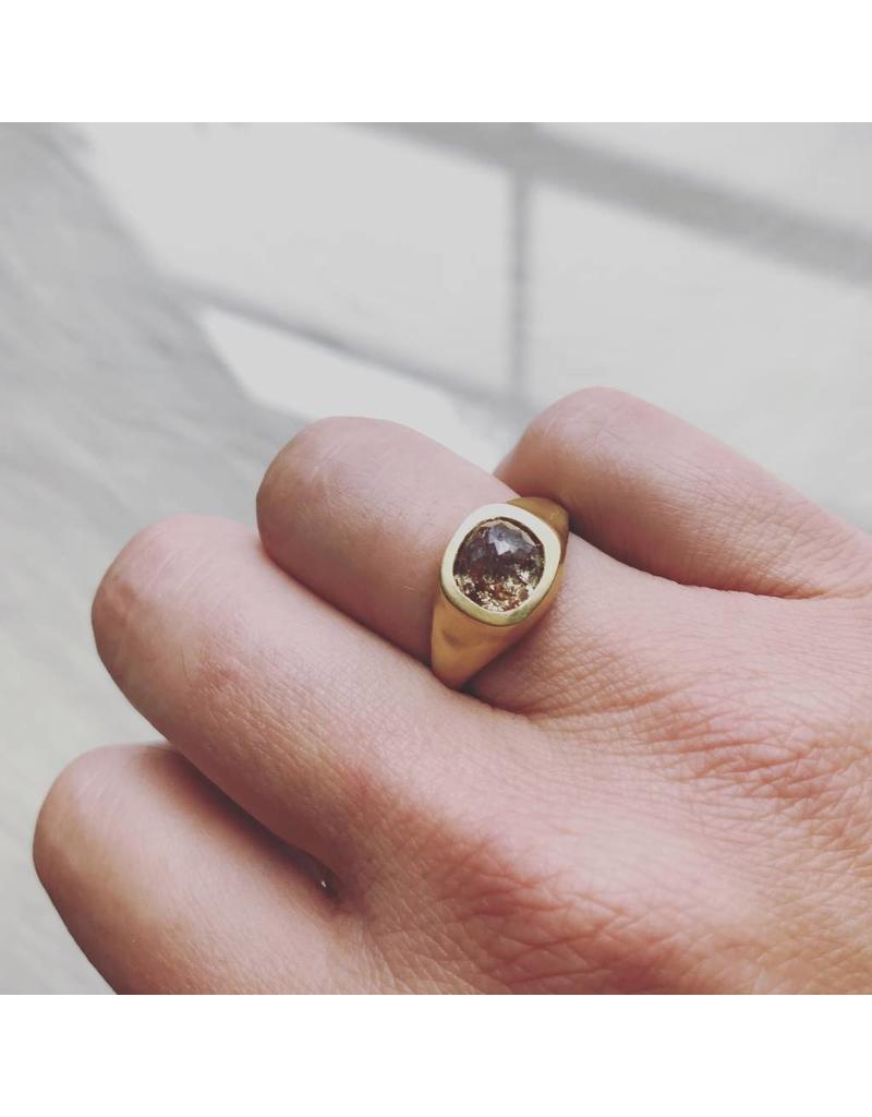 Cushion Shaped Rosecut Rose-Red Diamond Ring in 18k Yellow Gold