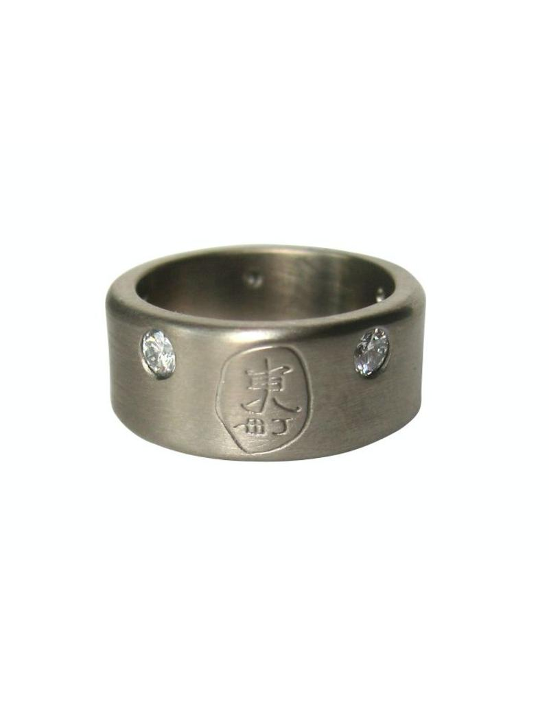 8.5mm Signature Logo White Gold Band with Five Diamonds in 14k Palladium White Gold