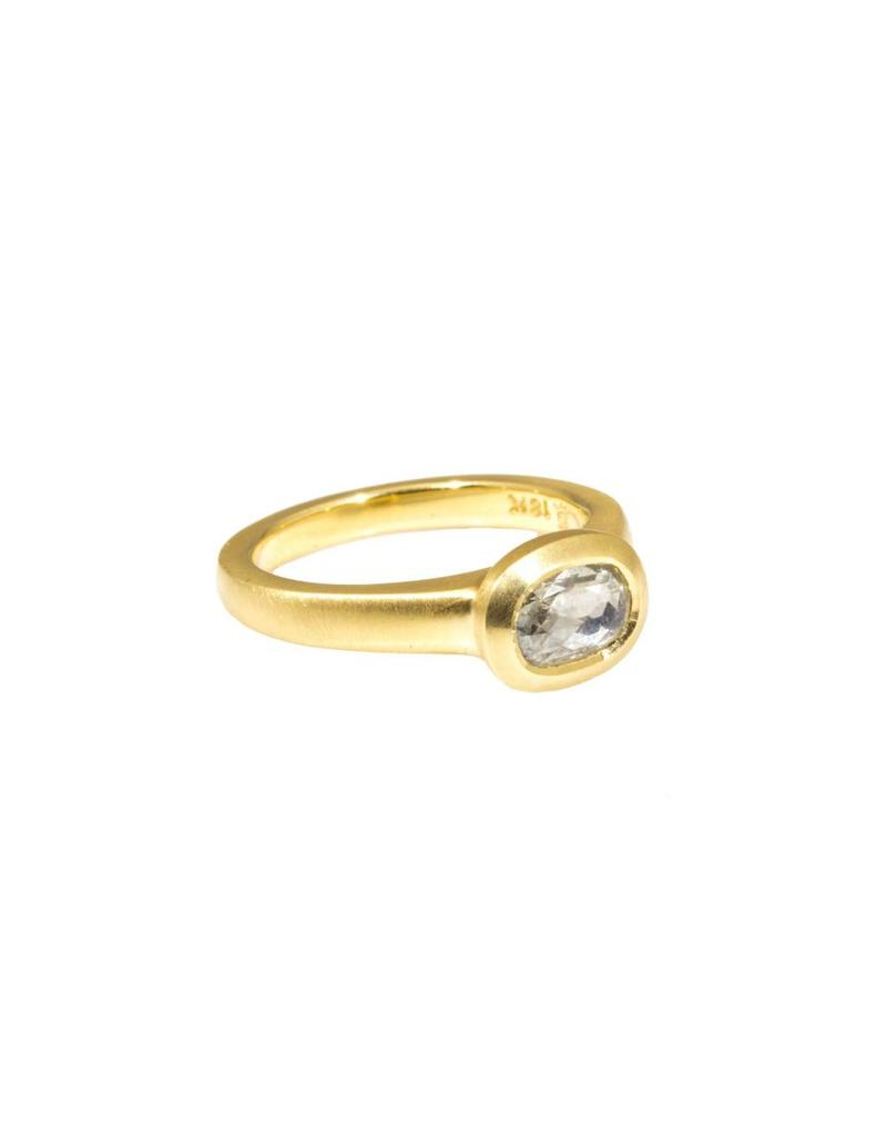 Raised Cup Setting with Rose Cut Oval Diamond Ring in 18k Yellow Gold